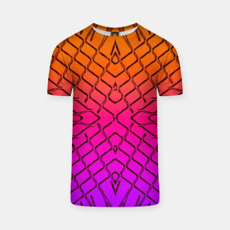 geometric symmetry line pattern abstract in orange purple pink T-shirt thumbnail image