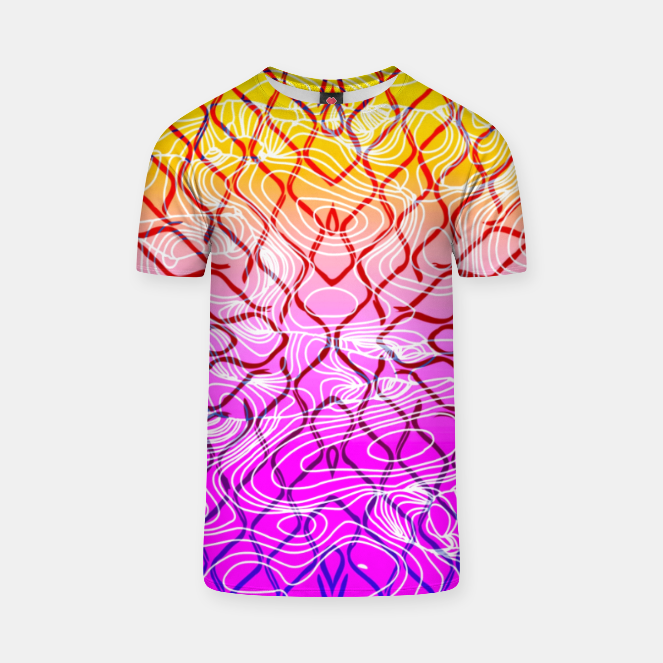 Image of geometric symmetry line pattern abstract in purple pink orange yellow T-shirt - Live Heroes