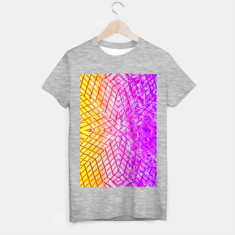 geometric symmetry line pattern abstract in purple pink orange yellow T-shirt regular thumbnail image