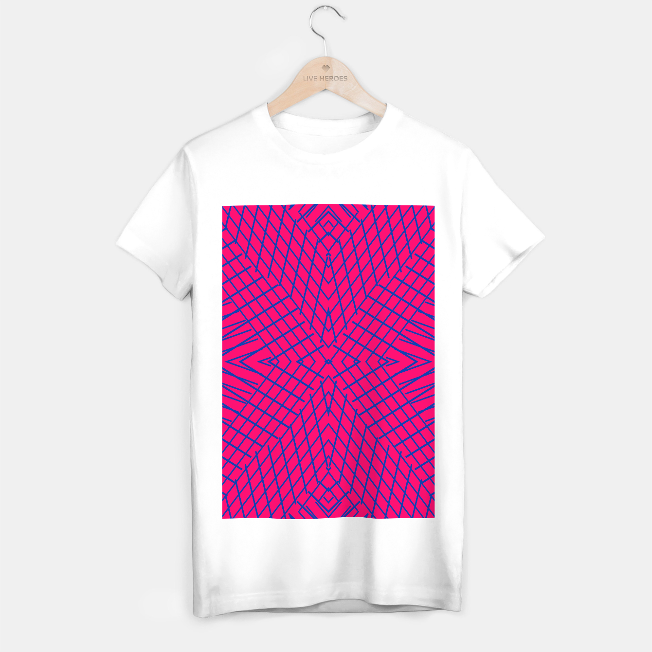 Image of geometric symmetry line pattern abstract in pink and blue T-shirt regular - Live Heroes