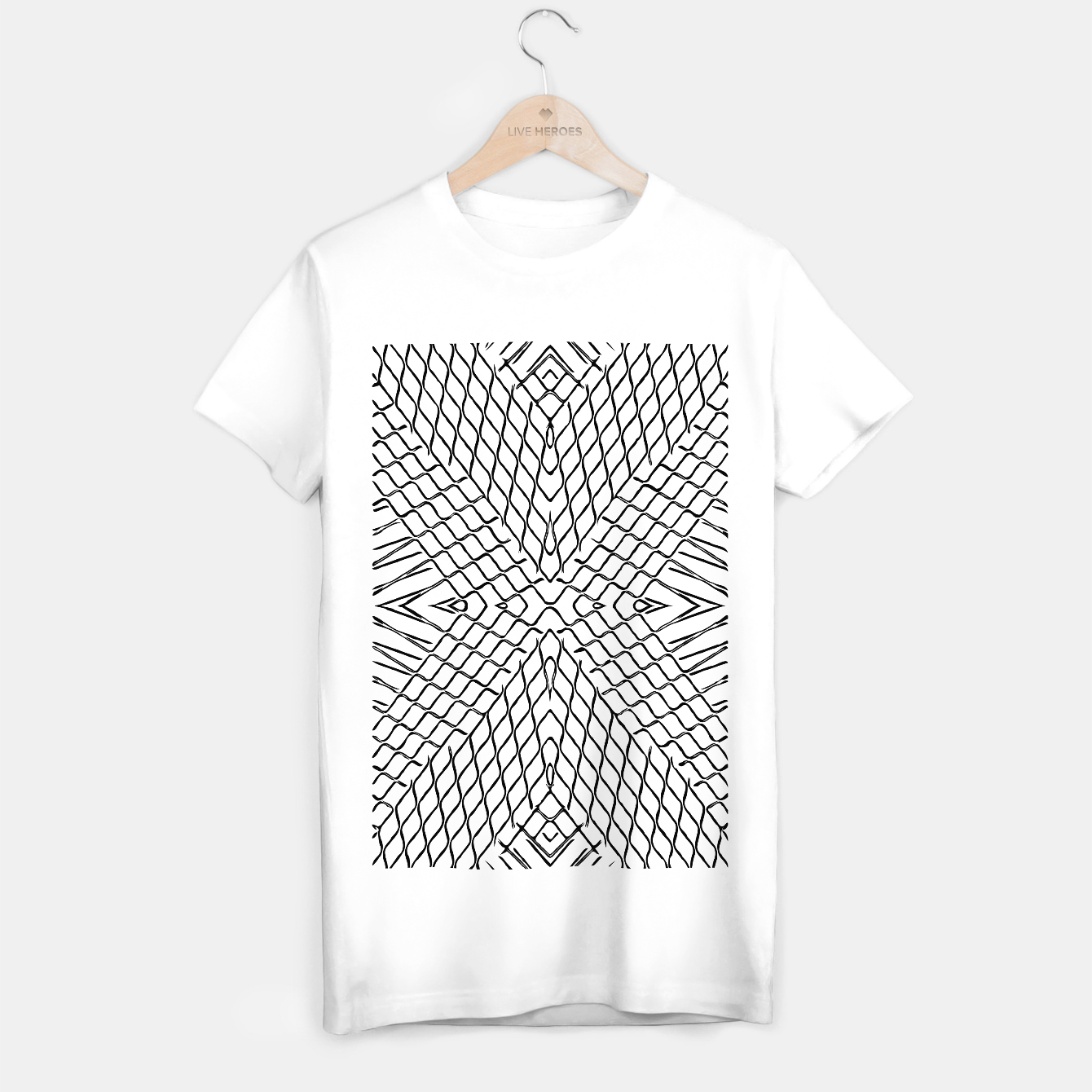 Image of geometric symmetry line pattern abstract in black and white T-shirt regular - Live Heroes