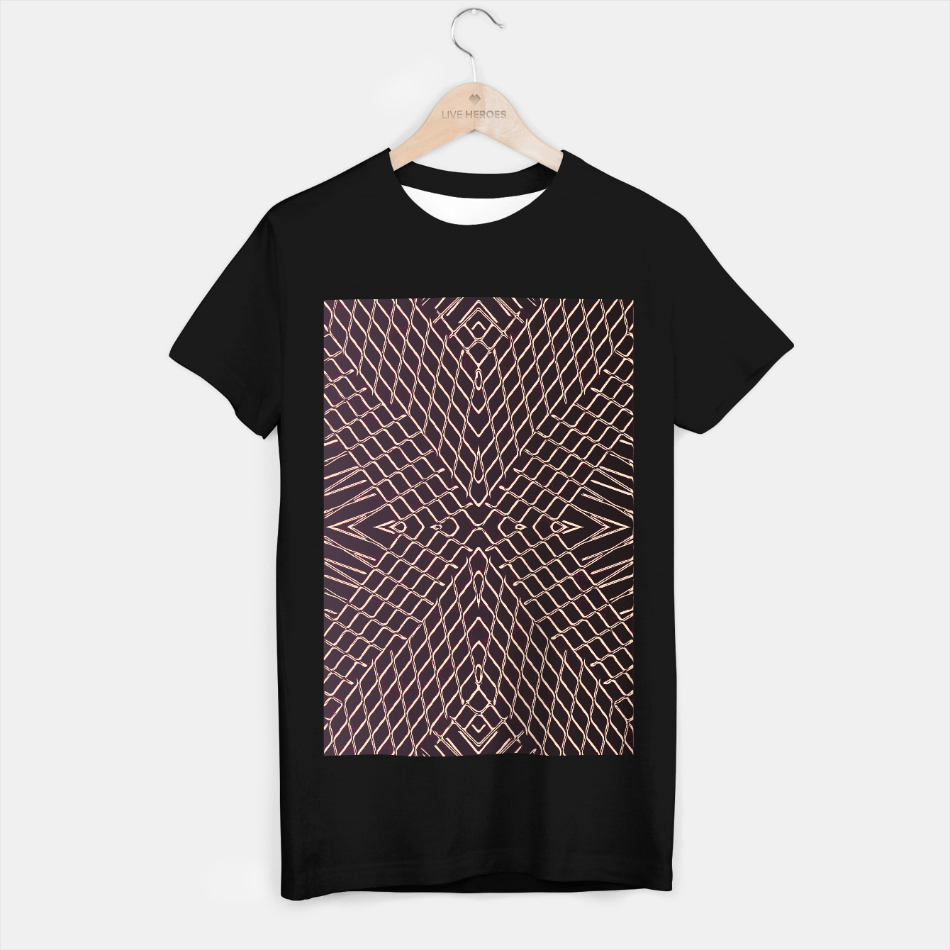 Image of geometric symmetry line pattern abstract in brown T-shirt regular - Live Heroes