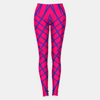 geometric symmetry line pattern abstract in pink and blue Leggings thumbnail image