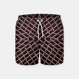 geometric symmetry line pattern abstract in brown Swim Shorts thumbnail image