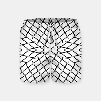 geometric symmetry line pattern abstract in black and white Swim Shorts thumbnail image