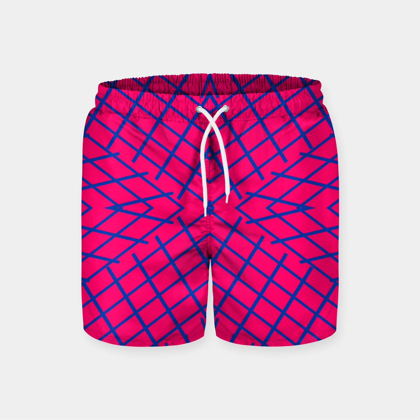 Image of geometric symmetry line pattern abstract in pink and blue Swim Shorts - Live Heroes