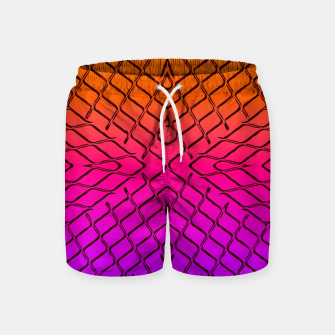 geometric symmetry line pattern abstract in orange purple pink Swim Shorts thumbnail image