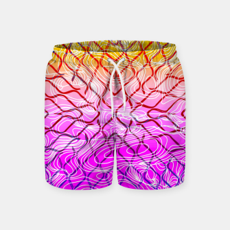 geometric symmetry line pattern abstract in purple pink orange yellow Swim Shorts thumbnail image