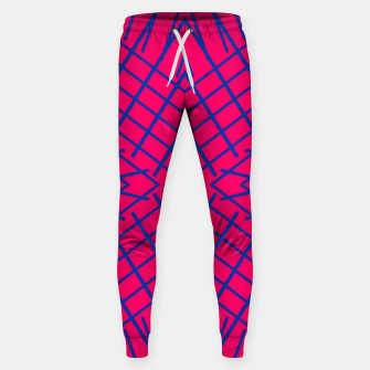 geometric symmetry line pattern abstract in pink and blue Sweatpants thumbnail image