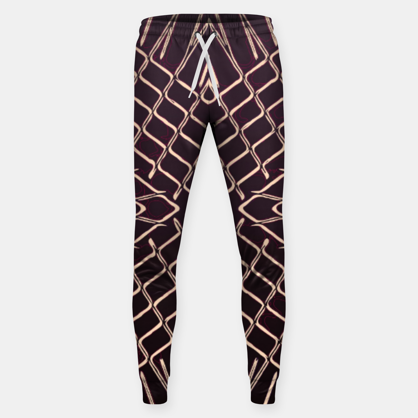 Image of geometric symmetry line pattern abstract in brown Sweatpants - Live Heroes