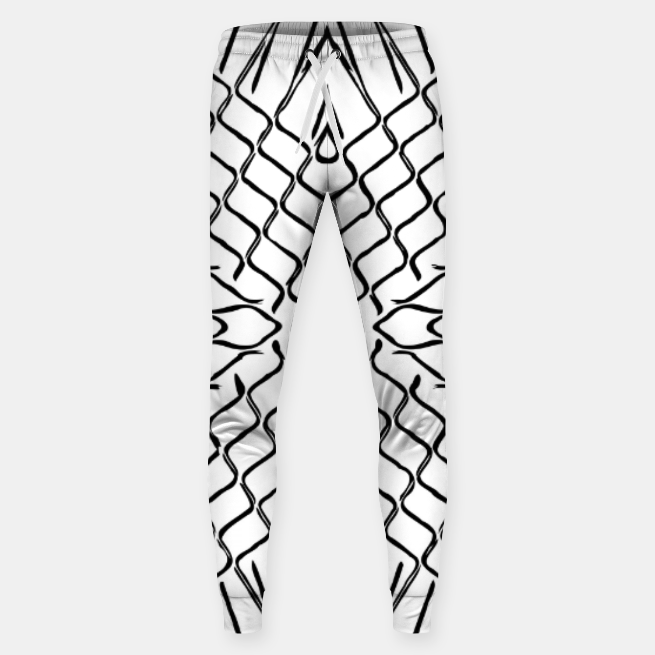 Image of geometric symmetry line pattern abstract in black and white Sweatpants - Live Heroes