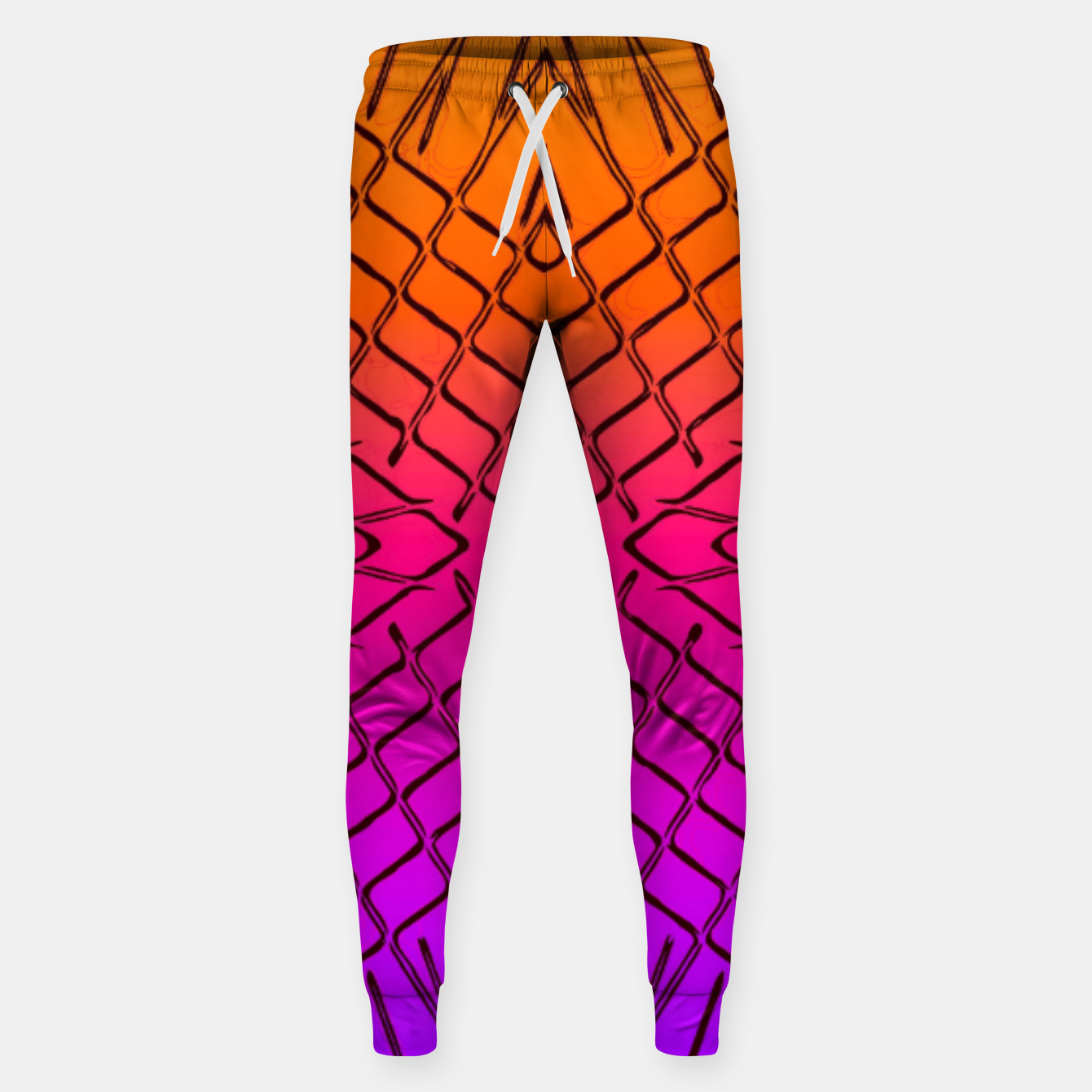 Image of geometric symmetry line pattern abstract in orange purple pink Sweatpants - Live Heroes