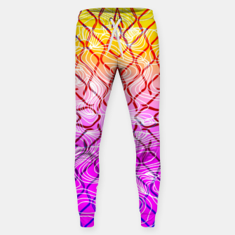 geometric symmetry line pattern abstract in purple pink orange yellow Sweatpants thumbnail image