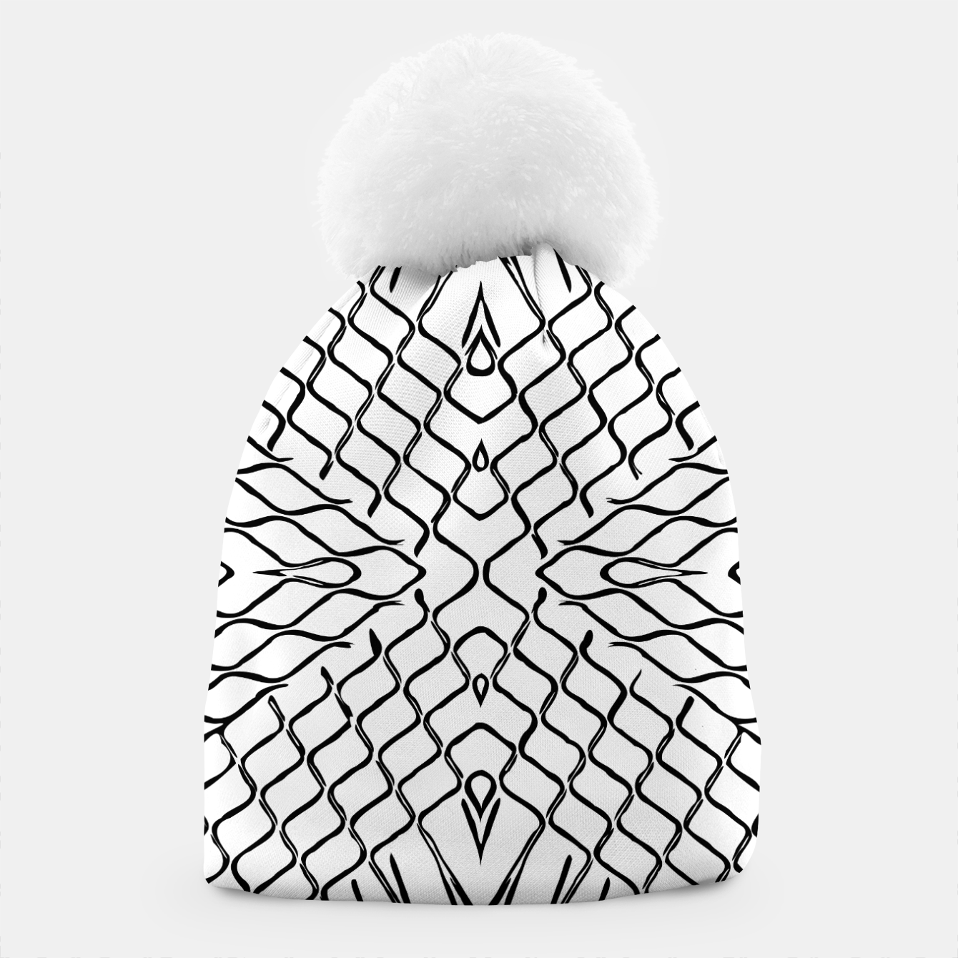 Image of geometric symmetry line pattern abstract in black and white Beanie - Live Heroes