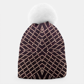 geometric symmetry line pattern abstract in brown Beanie thumbnail image