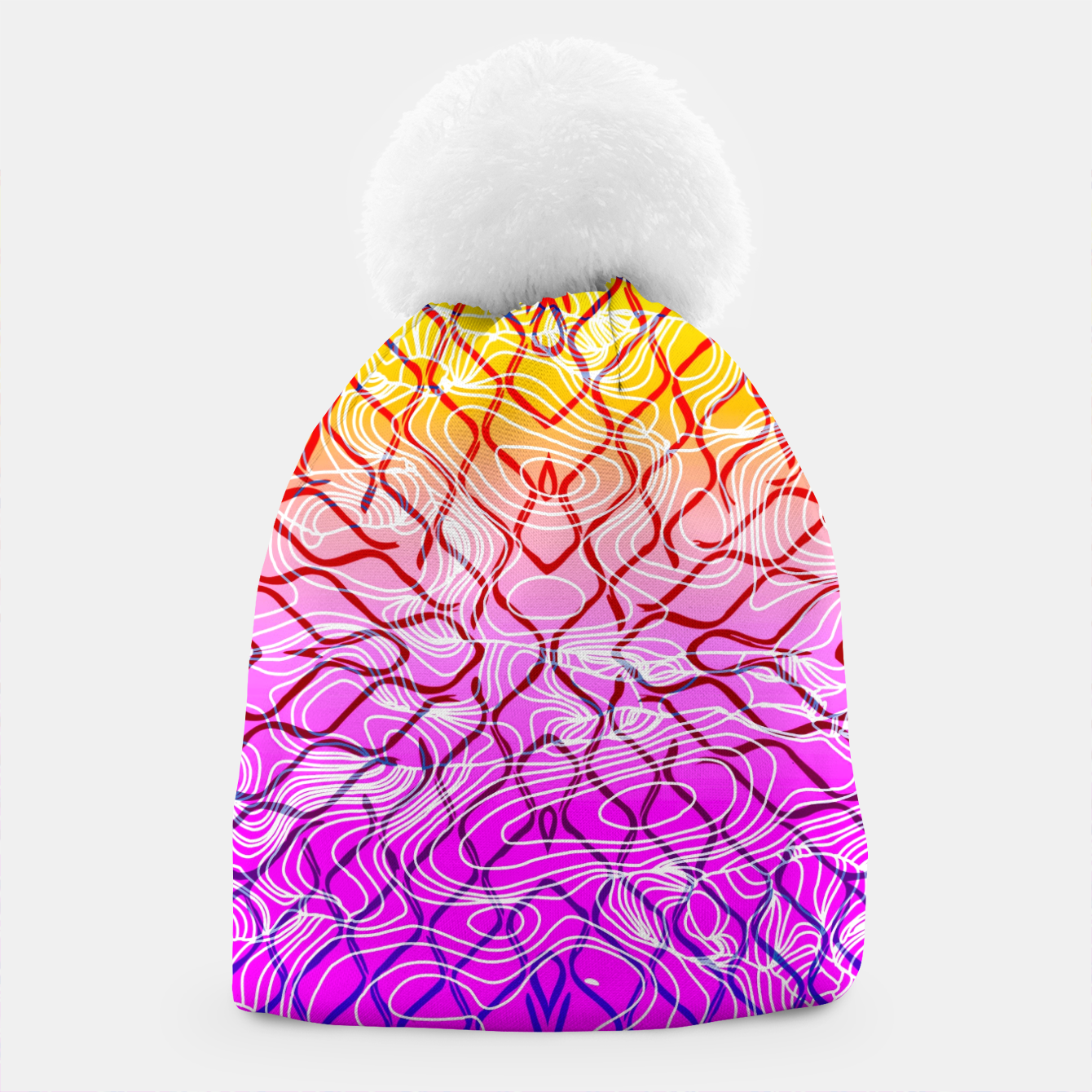 Image of geometric symmetry line pattern abstract in purple pink orange yellow Beanie - Live Heroes