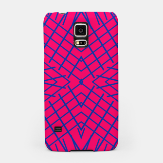 geometric symmetry line pattern abstract in pink and blue Samsung Case thumbnail image