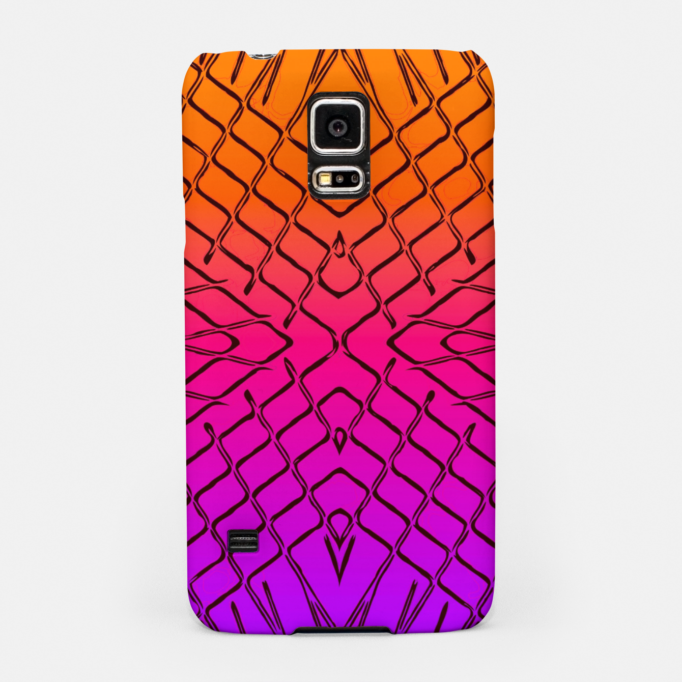 Image of geometric symmetry line pattern abstract in orange purple pink Samsung Case - Live Heroes