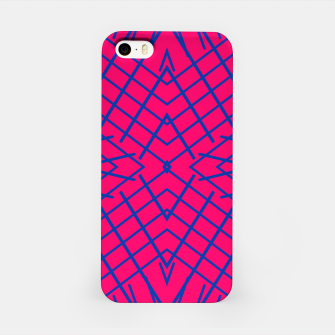 geometric symmetry line pattern abstract in pink and blue iPhone Case thumbnail image