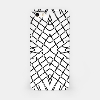 geometric symmetry line pattern abstract in black and white iPhone Case thumbnail image