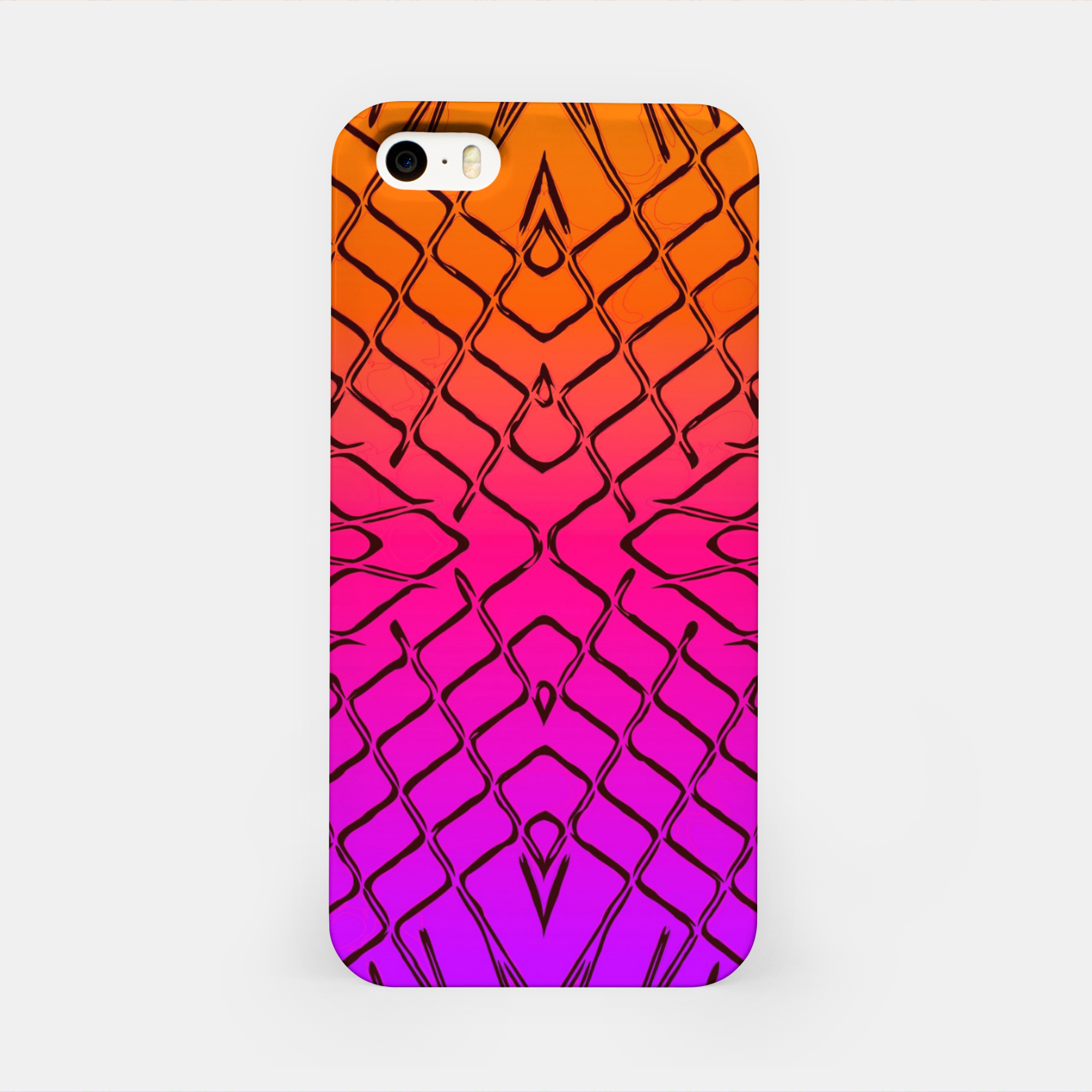 Image of geometric symmetry line pattern abstract in orange purple pink iPhone Case - Live Heroes