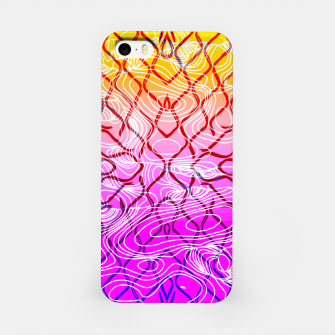 geometric symmetry line pattern abstract in purple pink orange yellow iPhone Case thumbnail image