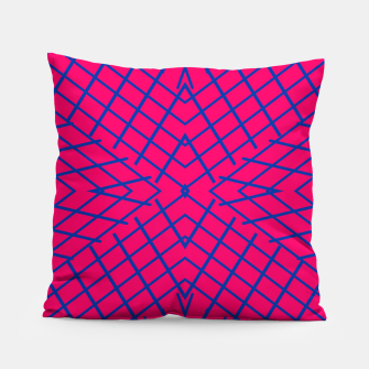Thumbnail image of geometric symmetry line pattern abstract in pink and blue Pillow, Live Heroes