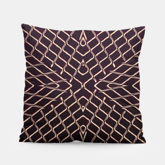 geometric symmetry line pattern abstract in brown Pillow thumbnail image
