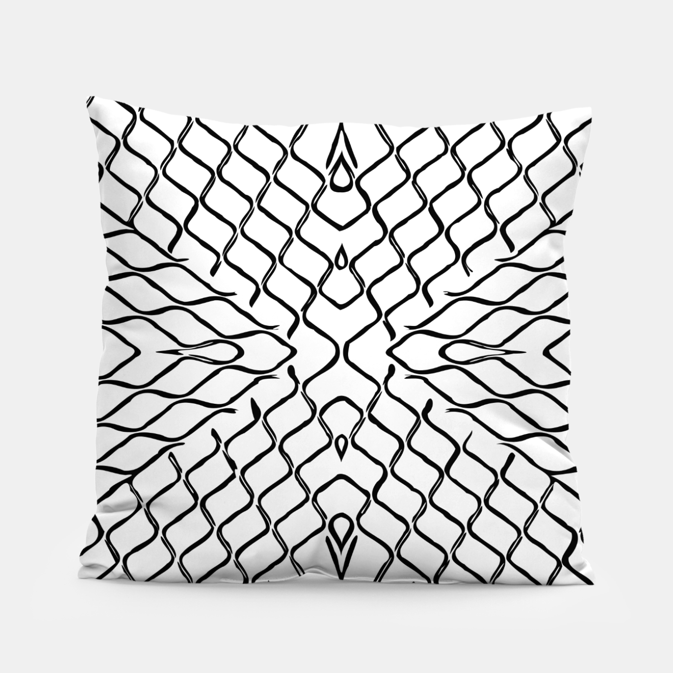 Image of geometric symmetry line pattern abstract in black and white Pillow - Live Heroes