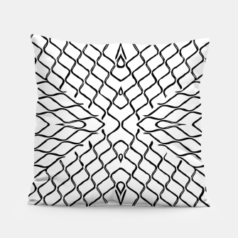 geometric symmetry line pattern abstract in black and white Pillow thumbnail image