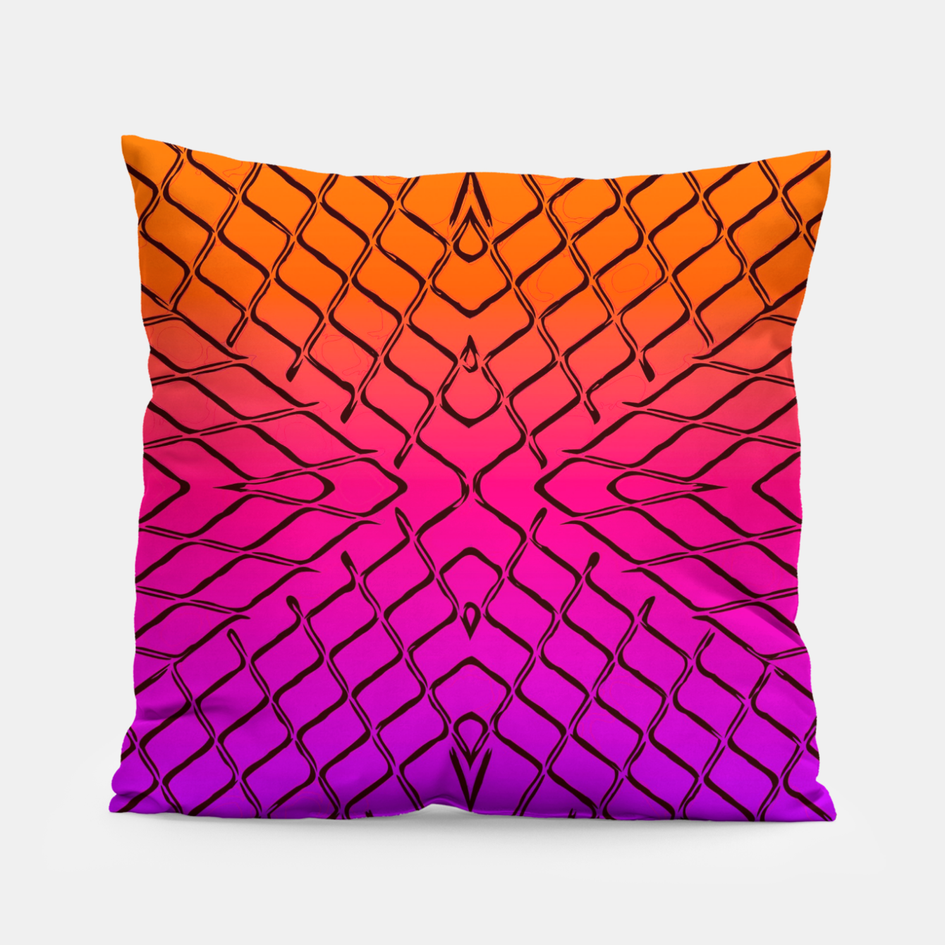Image of geometric symmetry line pattern abstract in orange purple pink Pillow - Live Heroes