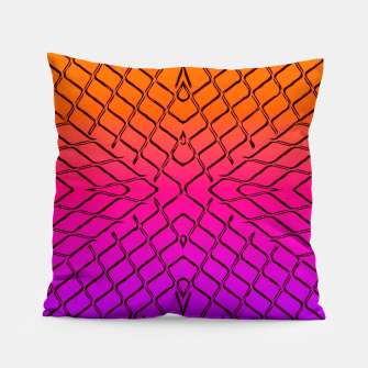 geometric symmetry line pattern abstract in orange purple pink Pillow thumbnail image