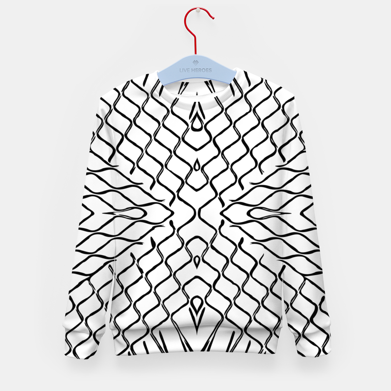 Image of geometric symmetry line pattern abstract in black and white Kid's sweater - Live Heroes