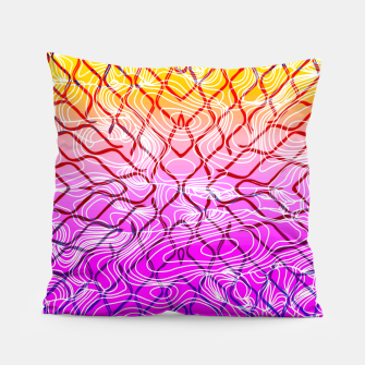 geometric symmetry line pattern abstract in purple pink orange yellow Pillow thumbnail image