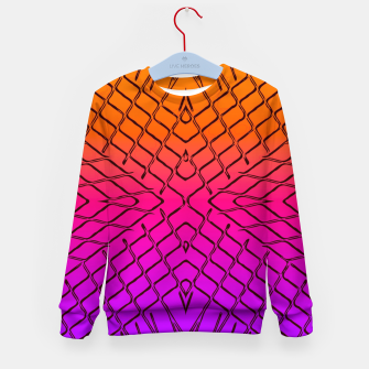 geometric symmetry line pattern abstract in orange purple pink Kid's sweater thumbnail image