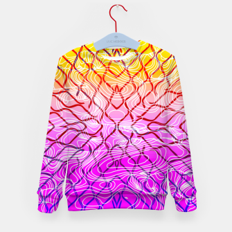 geometric symmetry line pattern abstract in purple pink orange yellow Kid's sweater thumbnail image