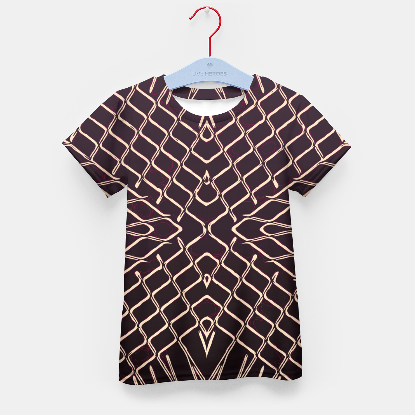 Image of geometric symmetry line pattern abstract in brown Kid's t-shirt - Live Heroes