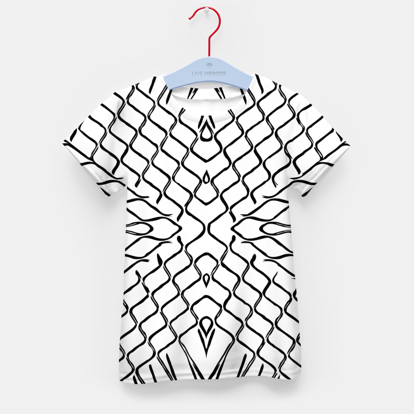 Image of geometric symmetry line pattern abstract in black and white Kid's t-shirt - Live Heroes