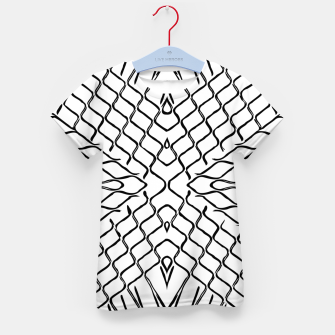 geometric symmetry line pattern abstract in black and white Kid's t-shirt thumbnail image