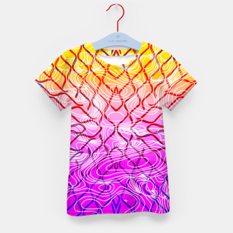 geometric symmetry line pattern abstract in purple pink orange yellow Kid's t-shirt thumbnail image