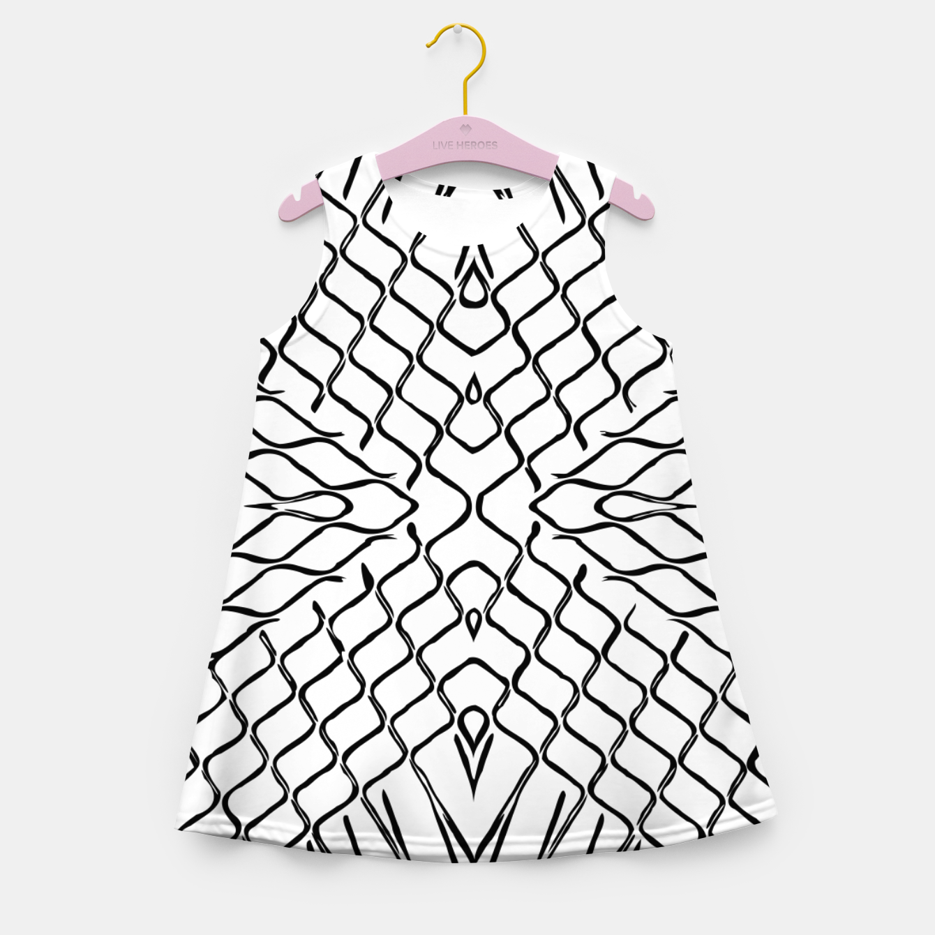 Image of geometric symmetry line pattern abstract in black and white Girl's summer dress - Live Heroes