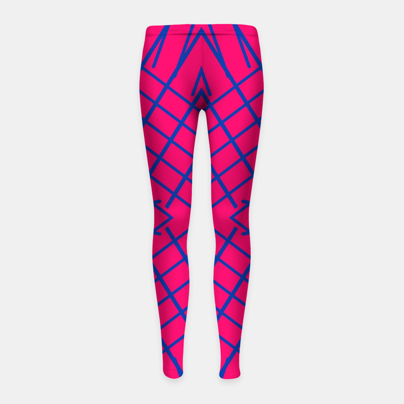 Image of geometric symmetry line pattern abstract in pink and blue Girl's leggings - Live Heroes
