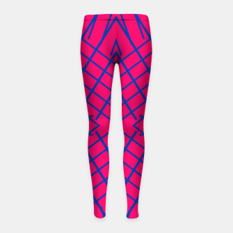 Thumbnail image of geometric symmetry line pattern abstract in pink and blue Girl's leggings, Live Heroes
