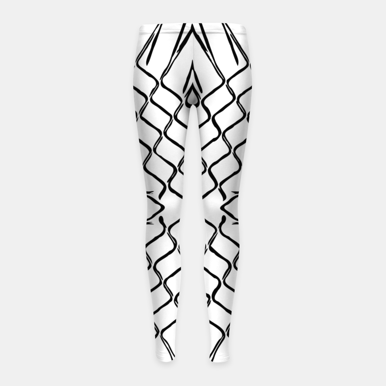 Image of geometric symmetry line pattern abstract in black and white Girl's leggings - Live Heroes