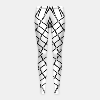 geometric symmetry line pattern abstract in black and white Girl's leggings thumbnail image