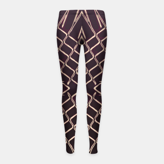 geometric symmetry line pattern abstract in brown Girl's leggings thumbnail image