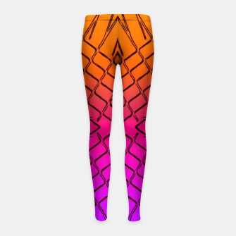 geometric symmetry line pattern abstract in orange purple pink Girl's leggings thumbnail image
