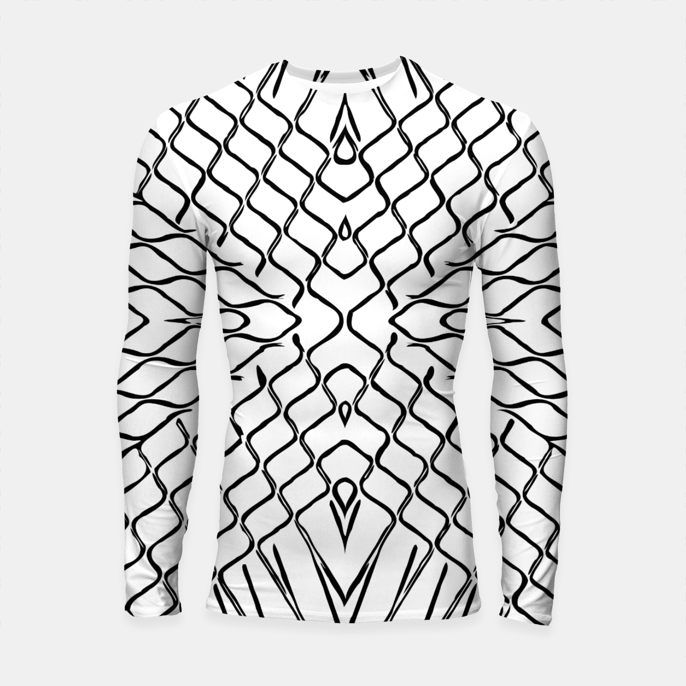 Image of geometric symmetry line pattern abstract in black and white Longsleeve rashguard  - Live Heroes
