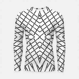 geometric symmetry line pattern abstract in black and white Longsleeve rashguard  thumbnail image