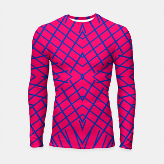 geometric symmetry line pattern abstract in pink and blue Longsleeve rashguard  thumbnail image